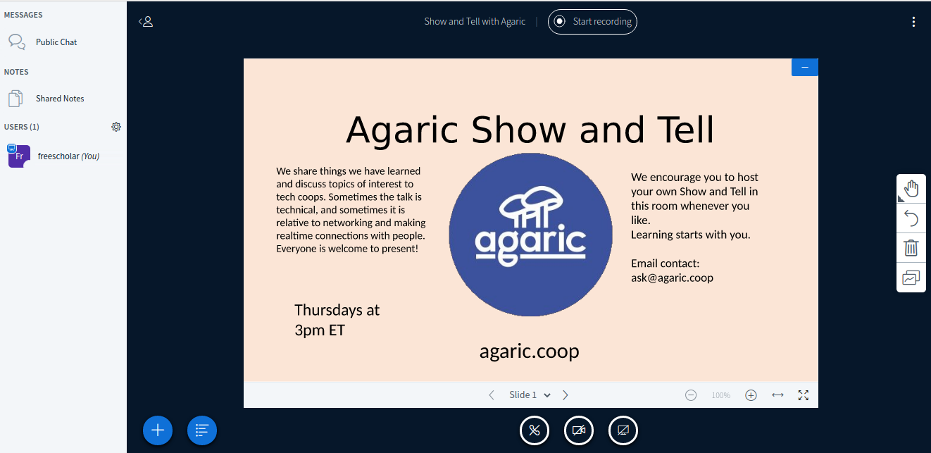 BigBlueButton screenshot of Agaric's Show and Tell