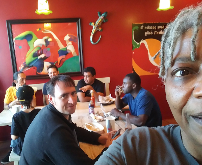 Some of the Agaric team enjoying burritos together.