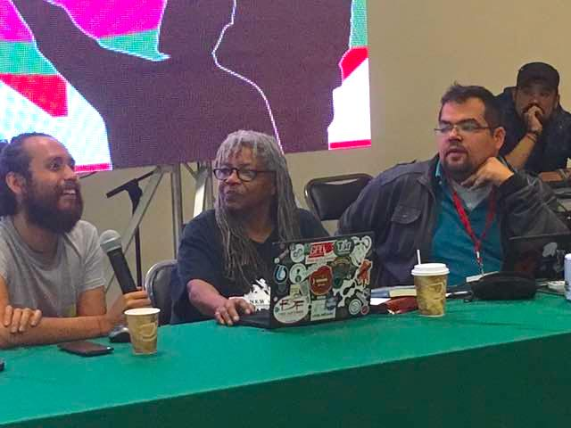 Micky speaking on a panel at the Workers Economy Encuentro.