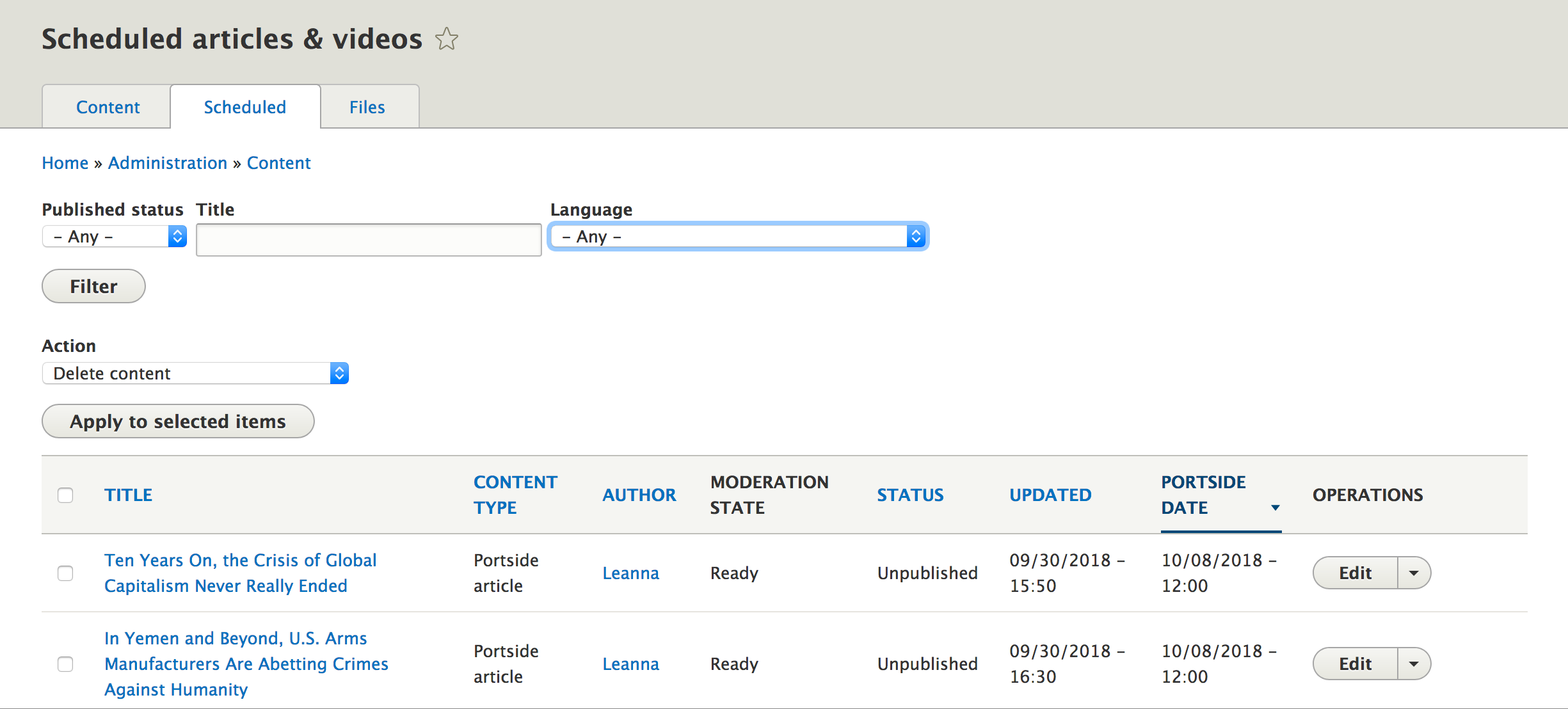 Screenshot of the scheduled content page