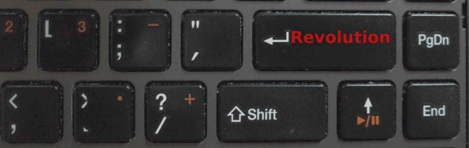 "Keyboard with the enter key renamed to ""revolution."""