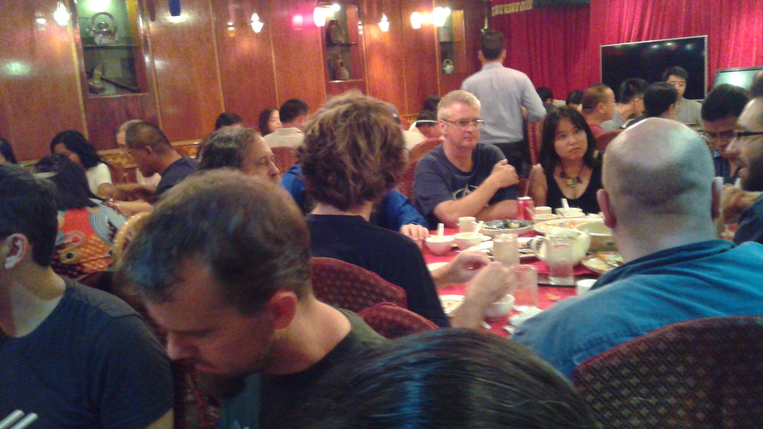 Richard Stallman and others discuss free software over lunch.