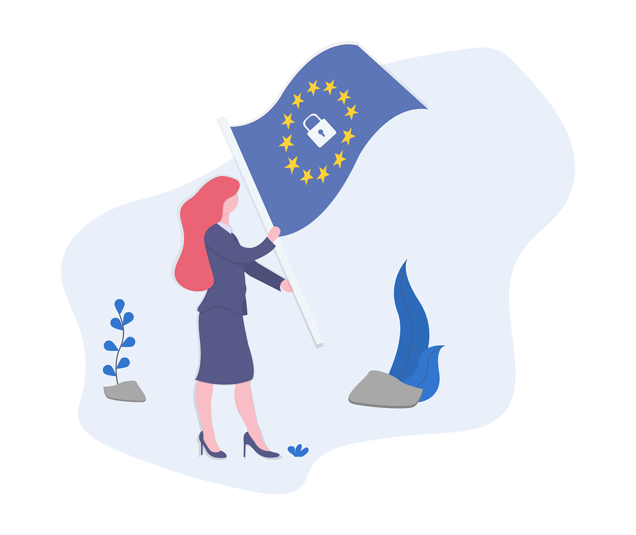 Woman planting an EU flag with a security symbol in the middle into the ground.