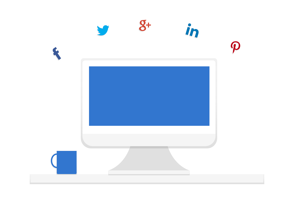 A desktop computer with social media icons above.