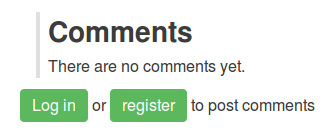 A comments section noting there are no comments yet, and providing two links, styled as buttons, in the sentence 'Log in or register to post comments'