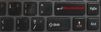 "Keyboard with the enter key renamed to ""revolution""."