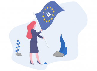 Woman planting an EU flag with a lock symbol in the middle into the ground.
