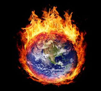 A graphic of the earth engulfed in flames.