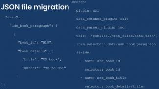 Example configuration of JSON source migration