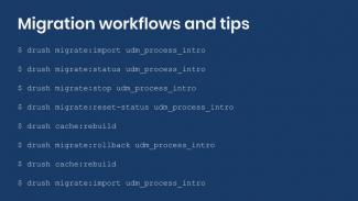 List of drush commands used in drupal migration workflows