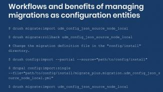 Example workflow for managing migration configuration entities