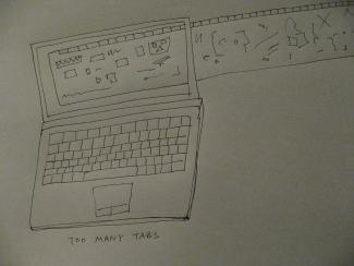 A drawing of a laptop with open tabs extending outside of the laptop as horizontally tiled windows.