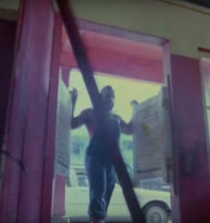 Mr. T as B.A. Baracus kicking open a wide door in the opening credits of the A-Team